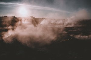 Steam from Geothermal Activity