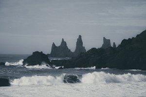 Monochrome Coastline with Waves