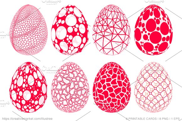 Abstract 3D Easter Eggs Vector Set