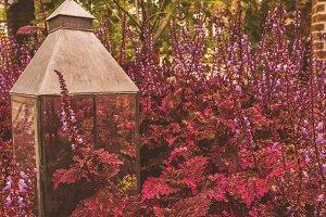Lamp decoration in the flower garden