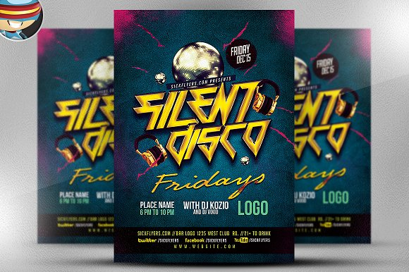 Silent Disco Flyer Template V2