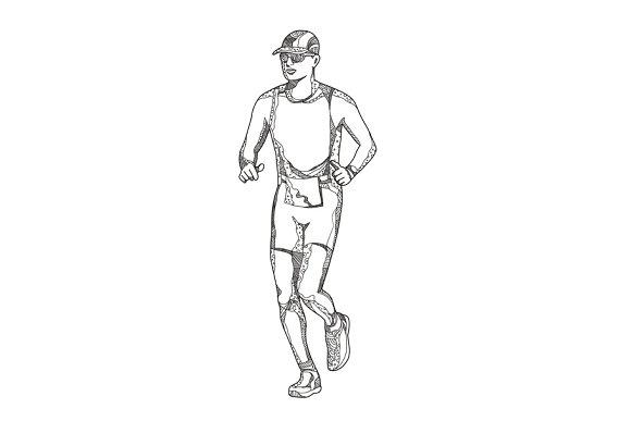 Marathon Running Doodle Art
