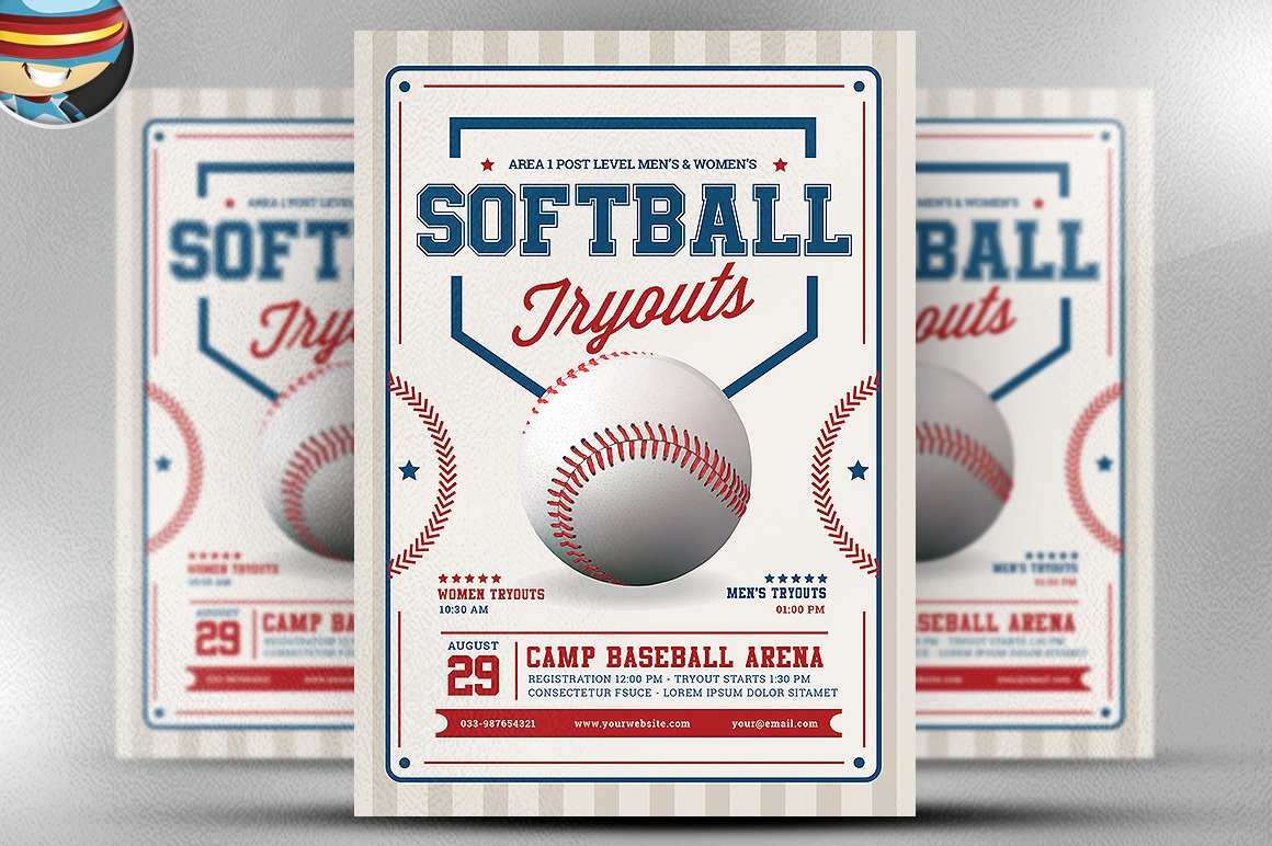 softball tryouts flyer template flyer templates creative market