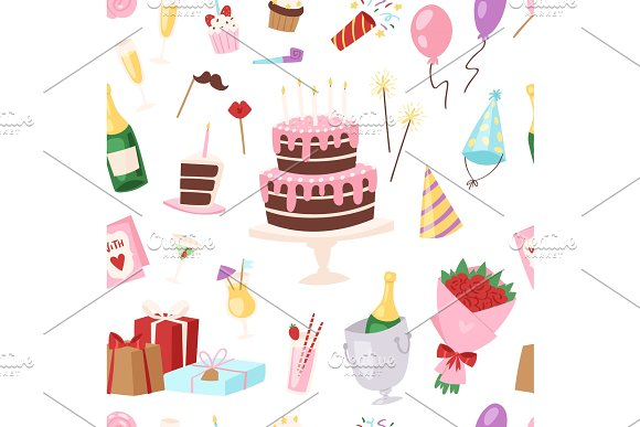 Birthday Kids Party Vector Cartoon Childs Happy Birth Cake Or Cupcake Celebration With Gifts And Happy Birthday Balloons Children Anniversary Holiday Set Illustration Seamless Pattern Background