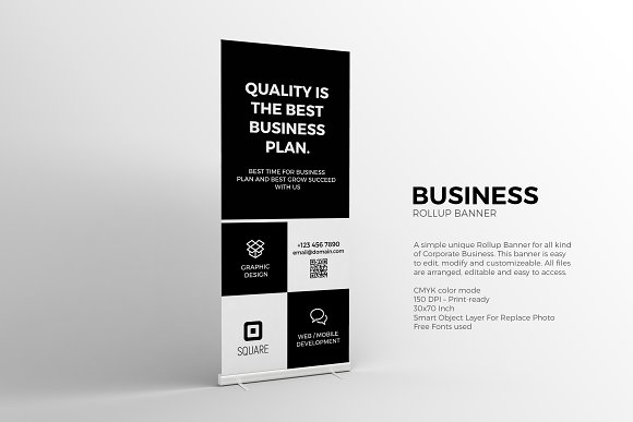 Black And White Roll-up Banner