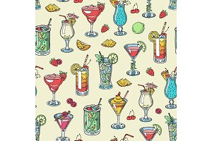 Cocktail vector alcohol beverage drinking alcoholic tequila martini drink cocktail in glass with pina colada mojito and cosmopolitan or drinkable bellinis seamless pattern background