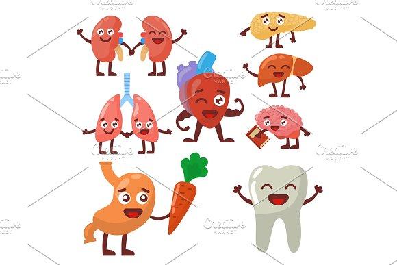 Human Organs Healthy And Unhealthy Anatomic Funny Cartoon Character Pairs Vector
