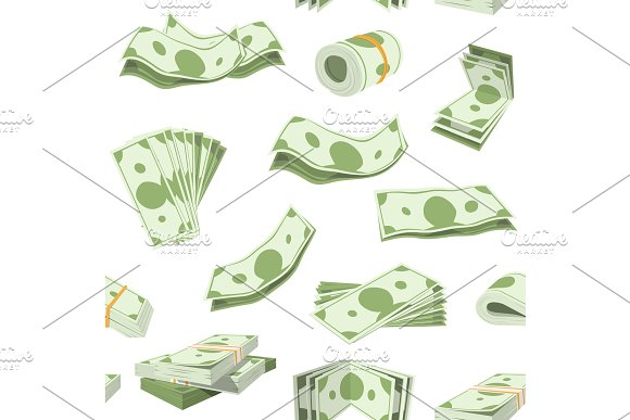 Money Vector Stack Of Dollar Or Currency Cash Monetary In Bank Moneysaving And Financial Business And Finance Banking Illustration Seamless Pattern Background