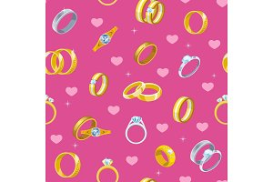 Wedding rings vector engagement symbol gold silver jewellery for proposal marriage wed sign will you marry me bridal illustration set seamless pattern background