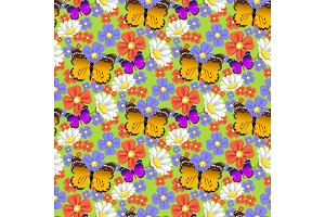 Nature flower and butterflies illustration seamless pattern background floral butterfly summer vector