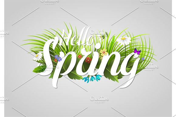 Spring Vector Text Lettering Background With Flower Floral Green Text Letter Ornament Beautiful Calligraphy Flower Hello Spring Is Coming Poster Illustration