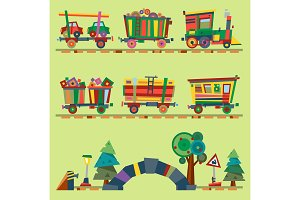 Kid vector train railroad baby cartoon toy or railway game locomotive gifted on Happy Birthday child in childhood kids train railroad station toys isolated on background illustration