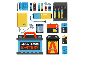 Battery energy save accumulator vector tools electricity charge fuel positive supply and isposable battery component alkaline industry technology accumulative illustration.