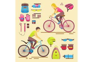 Sport bikers vector girl and boy people on bicycles activity fun woman and man on bicycles. Urban female biking sport and biker elements riders sportsman lifestyle cycling sport