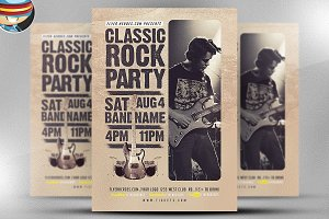 Classic Rock Bands Flyer Template