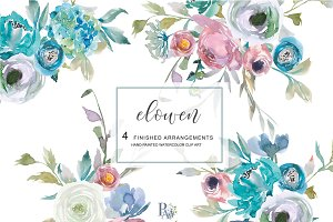 Watercolor Dusty Blue Floral Clipart