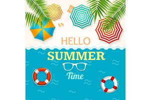 Hello Summer Time Banner Set