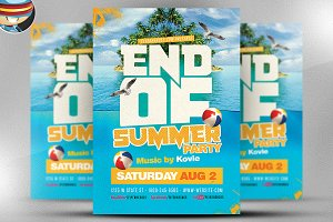 End of summer flyer template v2 flyer templates creative market end of summer flyer template saigontimesfo