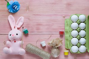Pastel pink Easter greeting concept