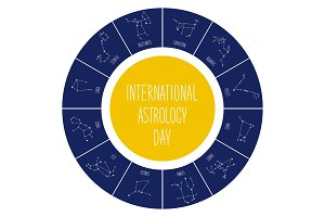 Cute International Astrology Day background with schematic hand drawn zodiac constellations