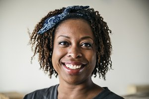 Portrait of cheerful black woman