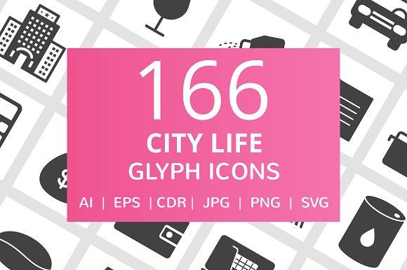 166 City Life Glyph Icons