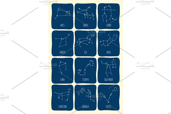 Cute Background With Schematic Hand Drawn Zodiac Constellations