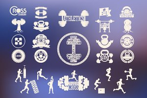 Cross Fitnes, GYM logo & silhouettes