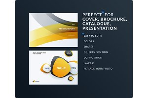 Set of design brochure, abstract annual report, horizontal cover layout