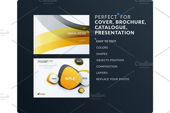 Set Of Design Brochure Abstract Annual Report Horizontal Cover Layout