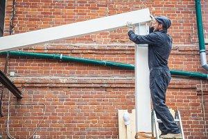 Man builds a house