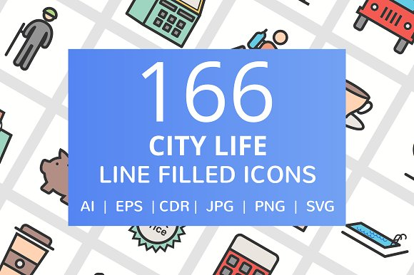 166 City Life Filled Line Icons