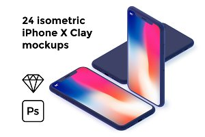 The isometric iPhone X Clay mockups