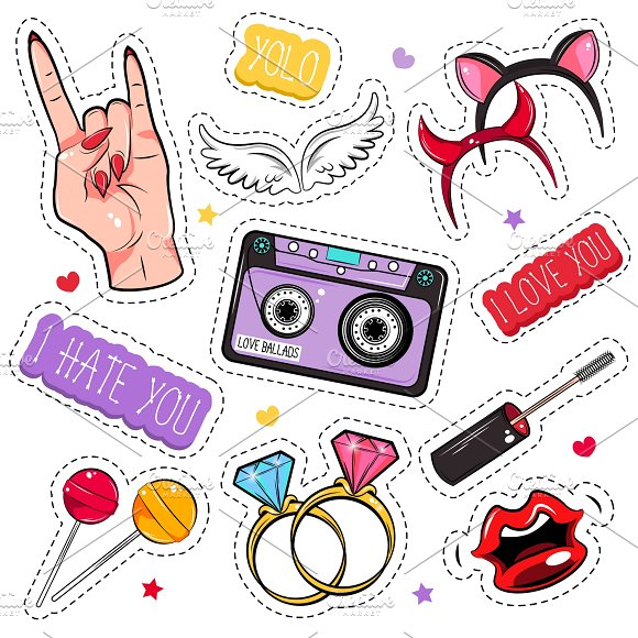 Comic Girlish Patches Set