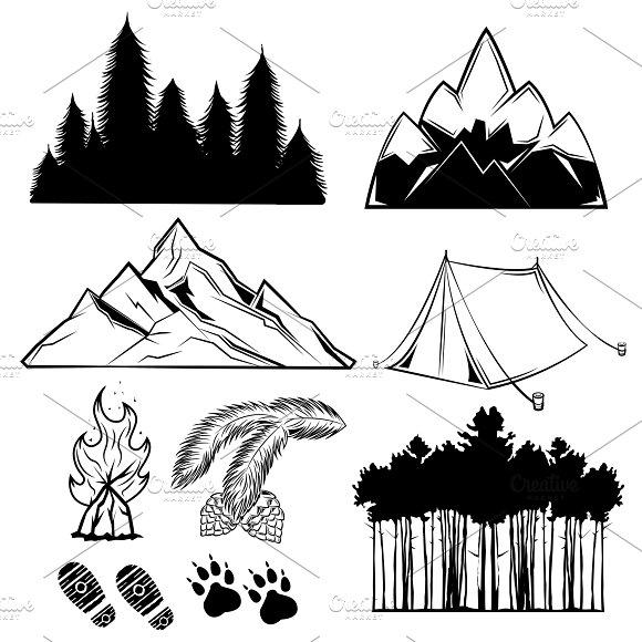 Forest Tattoo Element Set