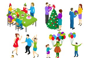 Isometric Festive People Set
