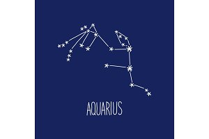 Cute background with schematic hand drawn zodiac constellation of aquarius