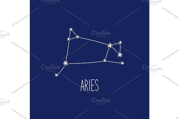 Cute background with schematic hand drawn zodiac constellation of aries