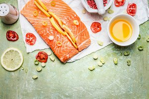 Raw salmon fillet cooking