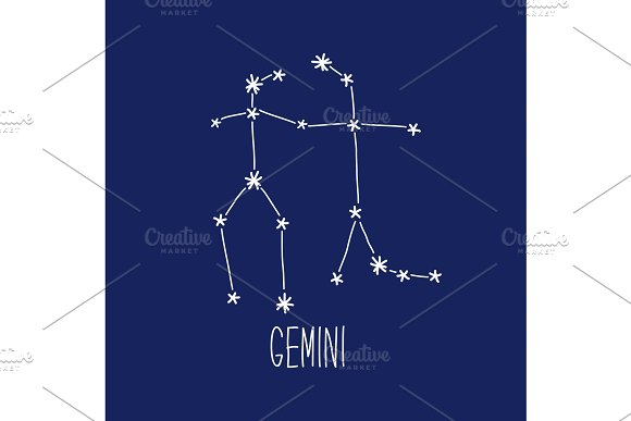 Cute Background With Schematic Hand Drawn Zodiac Constellation Of Gemini