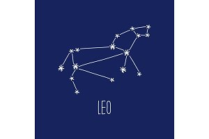 Cute background with schematic hand drawn zodiac constellation of leo
