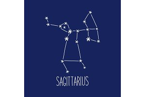 Cute background with schematic hand drawn zodiac constellation of sagittarius