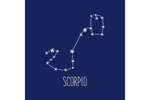 Cute background with schematic hand drawn zodiac constellation of scorpio