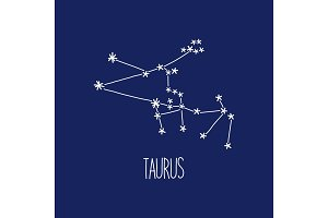 Cute background with schematic hand drawn zodiac constellation of taurus