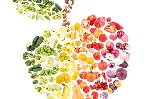 Collage from vegetables and fruits
