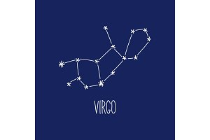 Cute background with schematic hand drawn zodiac constellation of virgo