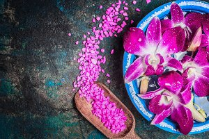 Water bowl with pink orchid flowers