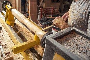 Carpenter work on a lathe