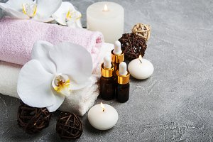 Spa products with white orchids