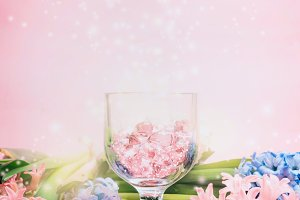 Hyacinths flowers and glass hearts
